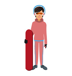 snowboarder girl winter clothes with goggles and vector image