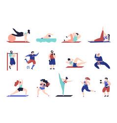 Sport training characters gymnastics person vector