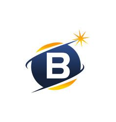 Swoosh logo letter b vector