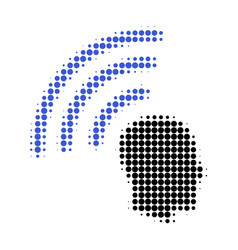 telepathy waves halftone dotted icon vector image