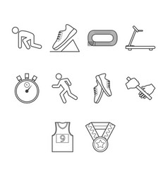 thin line running icon set vector image