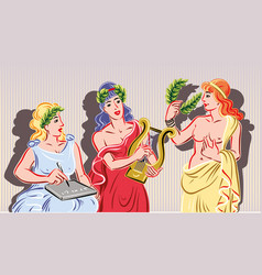 Three of the nine classical muses vector