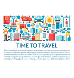 time to travel banner airport staff and equipment vector image