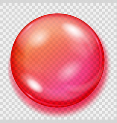 Transparent red sphere with shadow vector