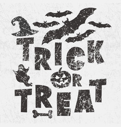 trick or treat - traditional halloween motto with vector image