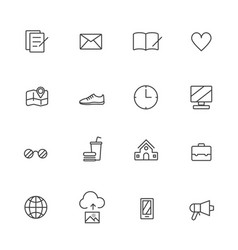 Universal line icons set on white background vector