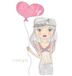Valentines day card fashion girl with heart baloon vector