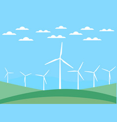 wind turbine on green fields in a flat style vector image