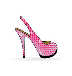 Women high heel pink shoes vector
