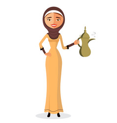 Young arab woman holding an arabic coffee pot vector