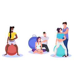 Young pregnant mix race women exercises fitball vector
