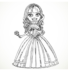 Beautiful princess in a dress with a rose in her vector