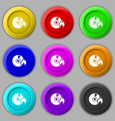 CD icon sign symbol on nine round colourful vector image vector image