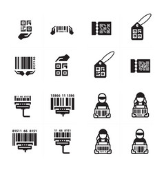 icon hand and barcode design set vector image vector image