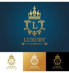 Monogram with crown Royal design logo vector image vector image