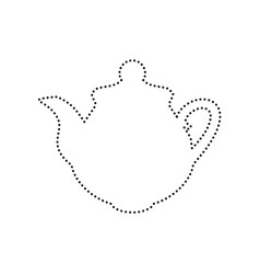 tea maker kitchen sign black dotted icon vector image vector image
