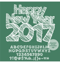 White drawn Happy New Year 2017 greeting card vector image vector image