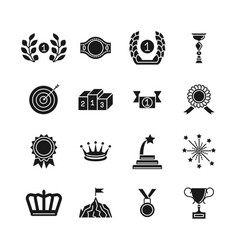 award icons black competition awarding and vector image vector image