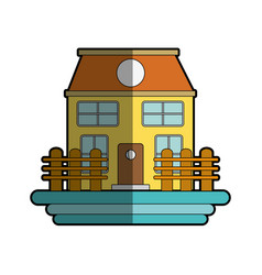 beutiful house with grid wood vector image