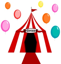 Circus tent white and red with balloons vector