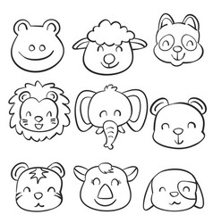 collection stock cute animal doodles vector image vector image