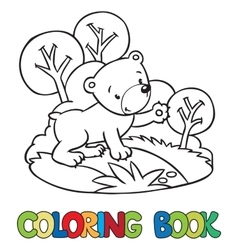 Coloring book of little funny bear vector image