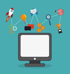 Computer digital marketing corporate information vector