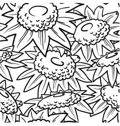 decorative sunflowers seamless pattern vector image