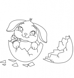 Easter bunny surprise coloring page vector image vector image