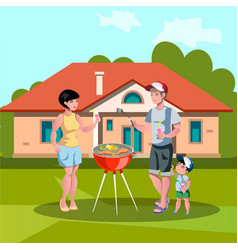 family enjoying barbecue outdoors vector image