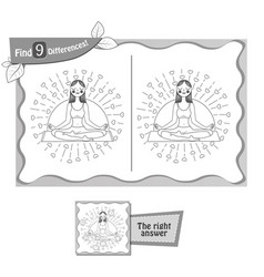 find 9 differences game black yoga vector image