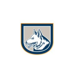 German Shepherd Dog Head Shield Retro vector image vector image