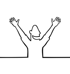 Happy man with hands in the air vector image