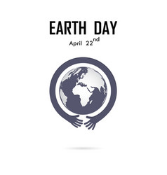 human hand and globe icon logo design vector image vector image