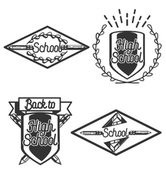 Vintage back to school emblems vector image