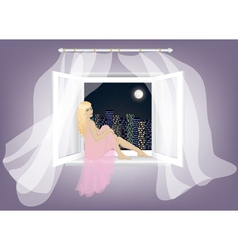woman sitting on the window vector image