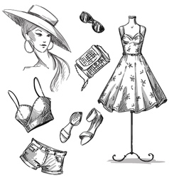 collection of summer clothing and accessories vector image vector image