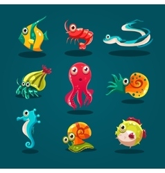 Cute Sea Life Creatures Cartoon Animals Set vector image