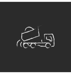 Dump truck icon drawn in chalk vector image