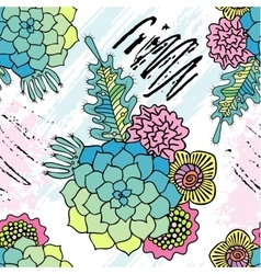 Hand drawn succulent and leaves seamless pattern vector image vector image