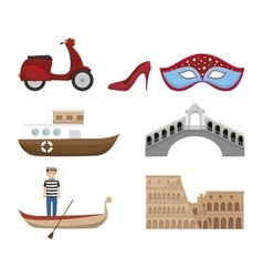 italy culture set icons vector image