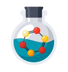 laboratory flask with molecule vector image vector image
