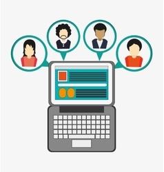 laptop social network media multimedia icon vector image