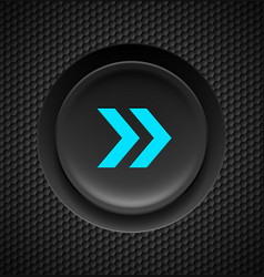 black button with fast forward sign in blue on vector image vector image