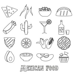 mexican food theme set of simple outline icons eps vector image vector image