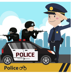 police set cartoon vector image vector image