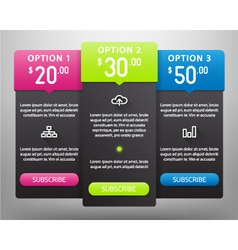 Pricing Tables vector image vector image