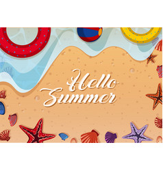 summer theme with toys and shells on beach vector image