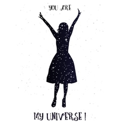 You are my universe love card vector image