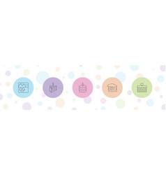 5 birthday icons vector
